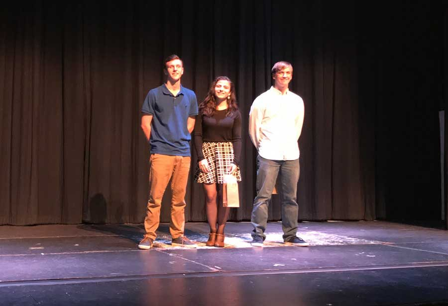 Poetry Out Loud Winner Jenna Thibault (Ctr) with Second Place Runner Up, Garrett Gifford (L) and Third Place Runner Up, Patrick Mannion (R)