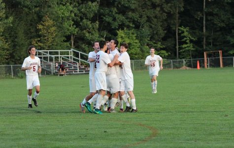 The boys have a little celebration after their 3-2 win over Lebanon.