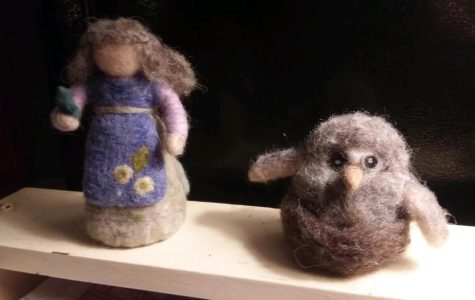 Martha's needle felted bird and grandmother.
