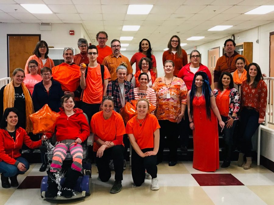 Students+and+staff+show+their+support+for+the+2019+Respect+Week+by+wearing+orange.