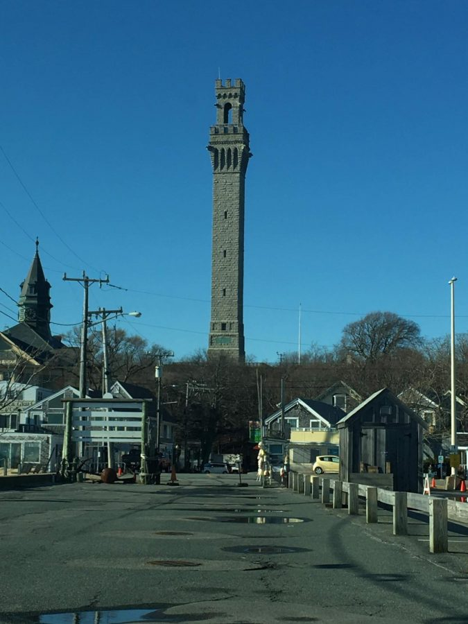 A view of Provincetowns Pilgrim Monument from MacMillan Pier.